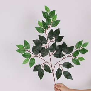 Popular Artificial Mini Plastic Plants Simulation Decorative Branches Ficus Leaves