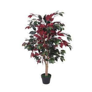 Factory cheap hot sales artificial ficus fabric leaves indoor decoration tree plant