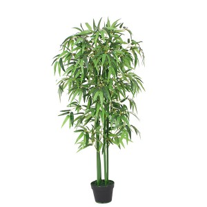Hot selling green real touch for home decoration artificial bamboo leaves plants natural bamboo trunk bonsai