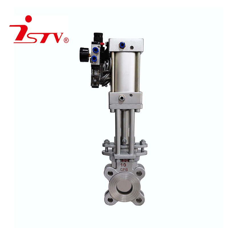 Pneumatic knife-shaped gate valve
