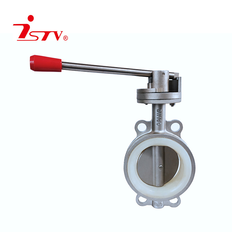 Sanitary center lined type rubber butterfly valve