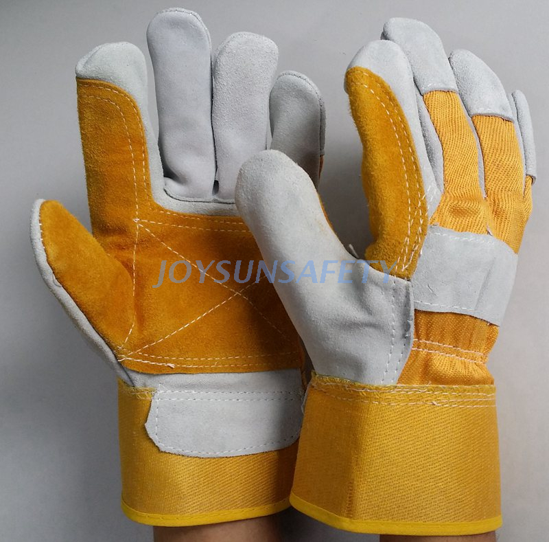China Cheap price Thin Rubber Gloves - CB522 yellow leather double palm gloves – Joysun