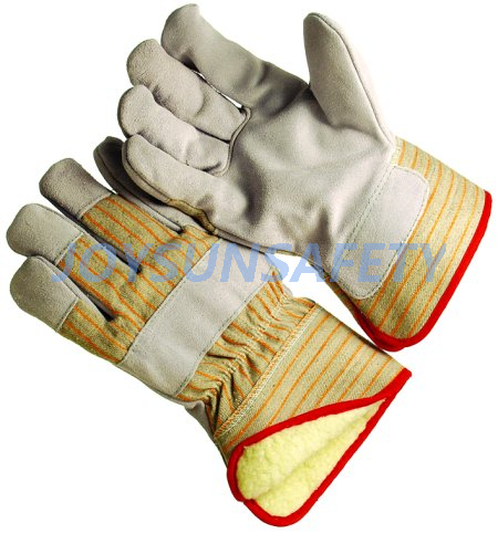 CBPL308 leather palm winter gloves pile lining