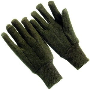 Cotton Brown Jersey Work Gloves Knit Wrist