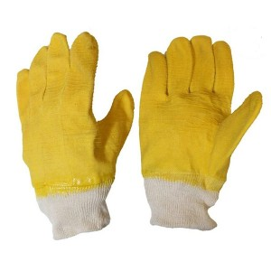 Crinkle Finish Latex Coated Gloves with Jersey Lining And Knit Wrist