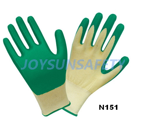 N151 Nitrile coated gloves foam finished