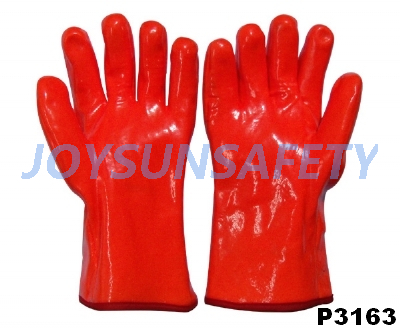 P3163 PVC coated gloves fluorescent smooth finished