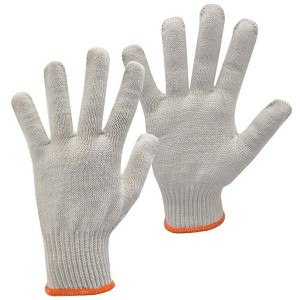 Natural white / orange String Knit Gloves