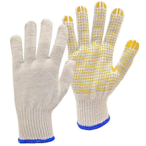 Natural white / blue PVC-Dotted String Knit Gloves Featured Image