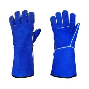 blue long leather fire and heat Resistant safety glove