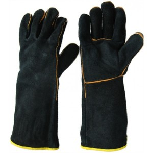 black long leather fire and heat Resistant safety glove