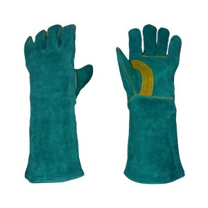 green long leather heat and fire resistant welding glove