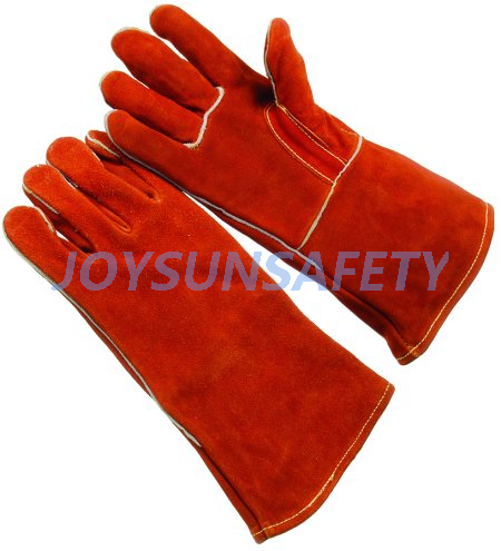 Short Lead Time for Double Dipped Pvc Gloves - WCBR02 red welding leather gloves straight thumb – Joysun