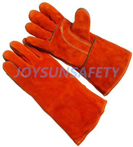 WCBR03 red welding leather gloves reinforced palm