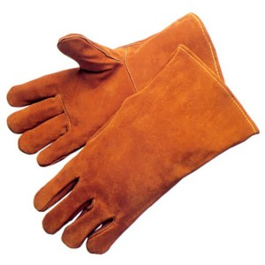 yellow leather Flame and Spark Resistant safety welding glove