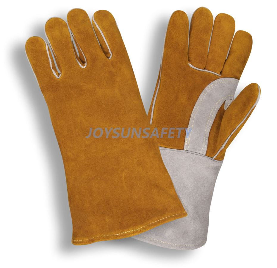 WCBY04 brown welding leather gloves reinforced palm