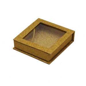 Square Glitter Paper Eyelash Box With Big Pvc Window