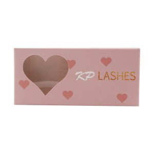 Pink Ivory Cardboard Eyelash Box With Heart Shaped Window