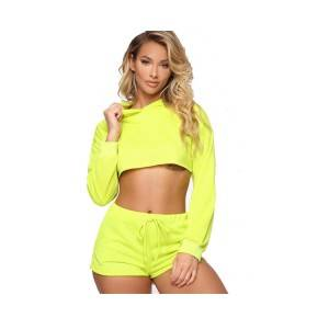 Women Tracksuit Pullover Hoodie Crop Top And Shorts Clothing Set Two Piece Set Female Summer Outfits Short Tracksuits