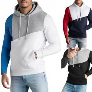 Mens Hoodies Sweatshirt Streetwear Patchwork Hoody Pullover Black White Hoodie Men Winter Fleece Sweatshirts Clothing