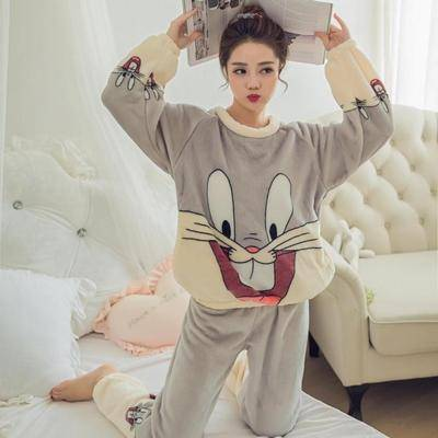 New 2020 Autumn Winter Warm Flannel Women Pyjamas Sets Thick Coral Velvet Girl Long Sleeve Cartoon Sleepwear Flannel Pajamas Set Featured Image
