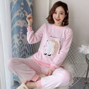 New 2020 Autumn Winter Warm Flannel Women Pyjamas Sets Thick Coral Velvet Girl Long Sleeve Cartoon Sleepwear Flannel Pajamas Set