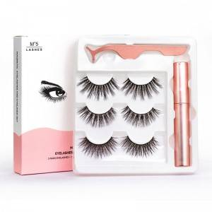 Wholesale 3 Pairs 5 Pairs 5 Magnets False Lashes Waterproof Quick Dry Magnetic Eyelashes With Eyeliner