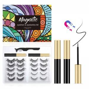 Resuable Waterproof 5 Magnets False Eyelashes Private Label Magnetic Lashes with Eyeliner Kit