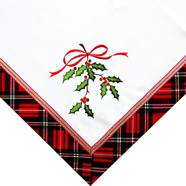 Square Christmas embroidered tablecloth. WHL2396 Featured Image