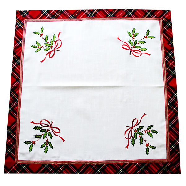 Square Christmas embroidered tablecloth. WHL2396