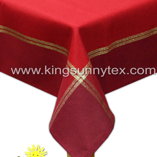 Red Color Table Runner With Gold Thread For Christmas