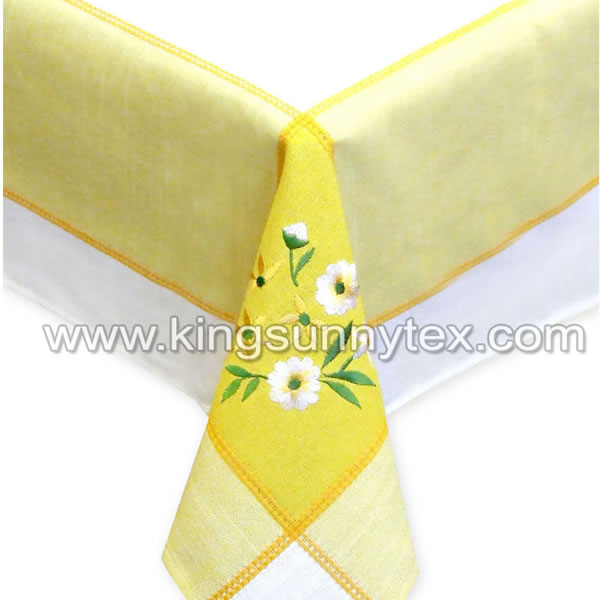 100% Polyester Flowerl Embroidery Table Cloth