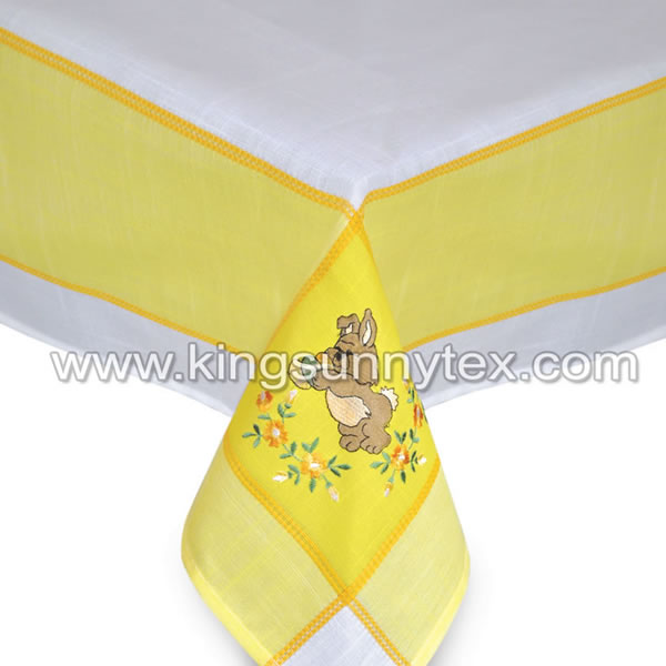 Yellow Bunny Embroidery Easter Decoration For Gift