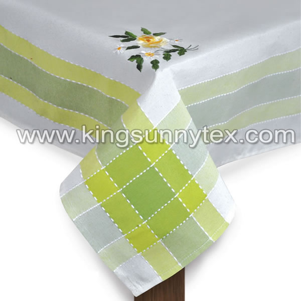 Green Flower Embroidery For Dining Table
