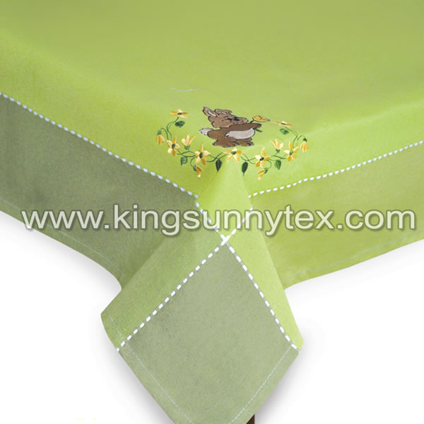 Dark Green Bunny Embroidery Tablecloth For Easter
