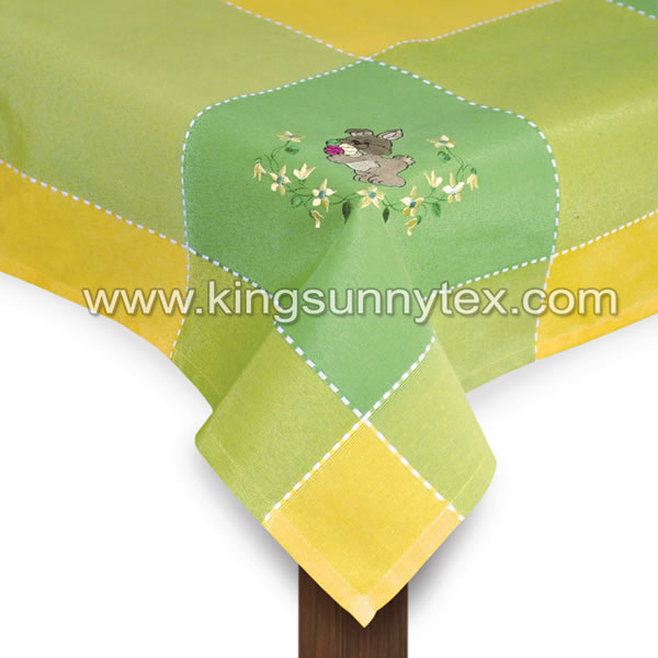 Yellow Green Bunny Embroidery Tablecloth For Easter