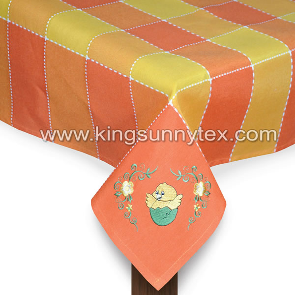 Orange Chick Embroidery Tablecloth For Easter