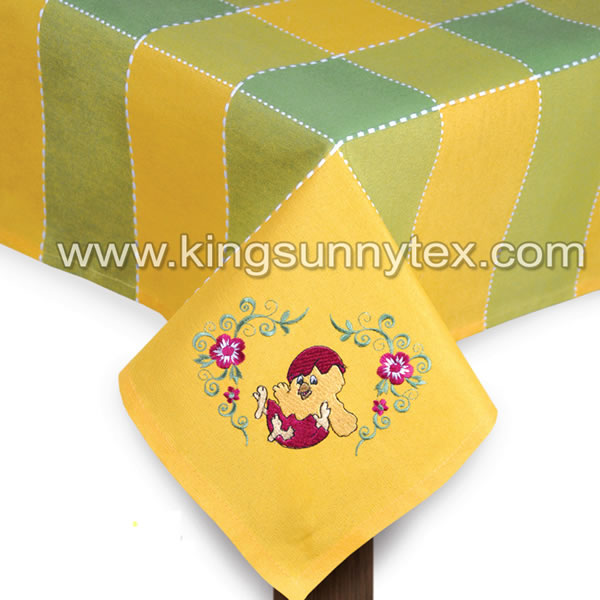 Yellow Green Chick Embroidery Tablecloth For Easter