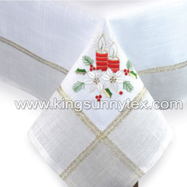 White Candle Embroidery Wide Gold Lurex Thread Fabric For Christmas
