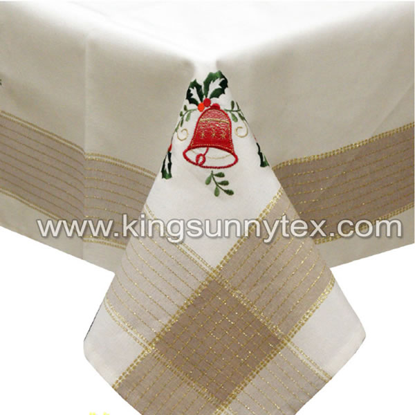 Bell Embroidery Gold Lurex Thread Fabric For Christmas