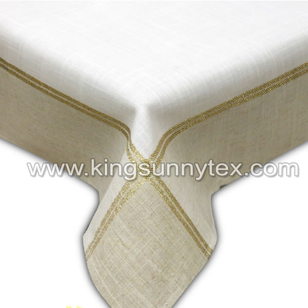 White Fabric Gold Lurex Thread Fabric For Christmas
