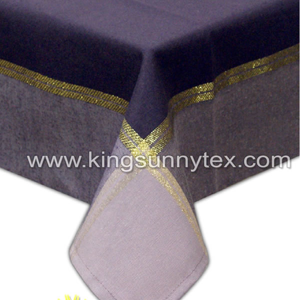 Purple Table Cloth With Gold Thread