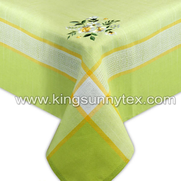 Green Flower Embroidery Tablecloth For Home Textile