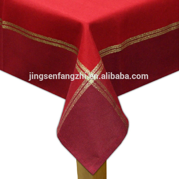 Red Color Table Cloth With Gold Thread For Christmas