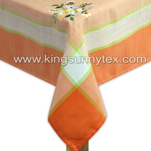 Orange Flower Embroidery Tablecloth For Home Textile
