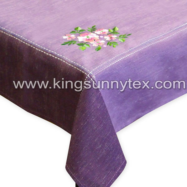 Fancy Spring Flowers Embroidery Table Cloth