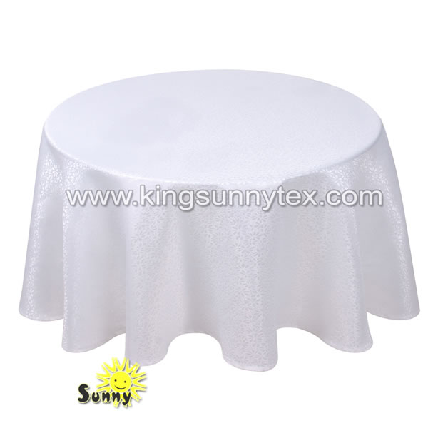 White Round Polyester Tablecloths For Wedding