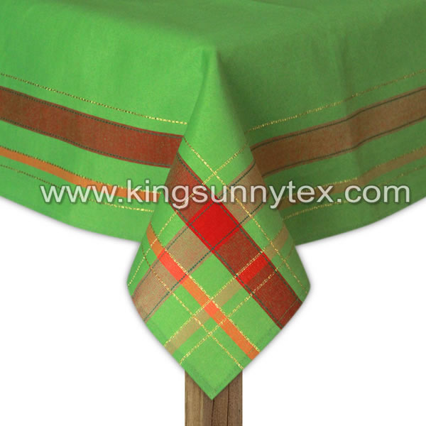 Green Colour Christmas Design Table Cloth