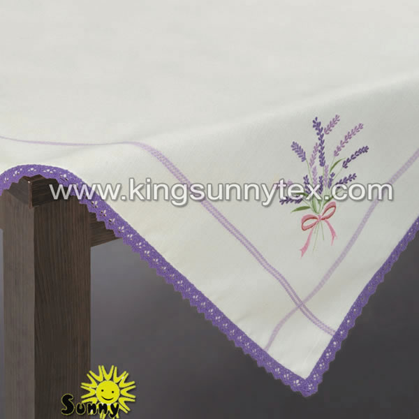 100% Polyester Table Cloth With Lace And Embroidery
