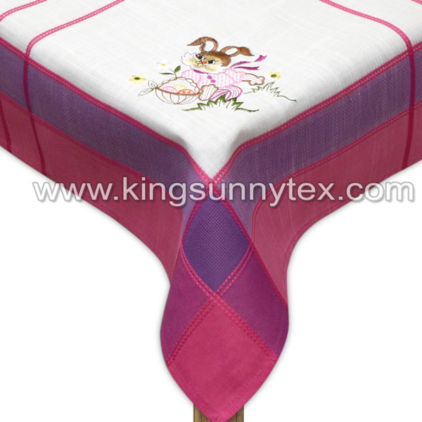 Colored Tablecloth With Rabbit Pattern